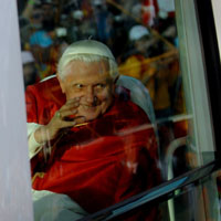 Pope Benedict XVI waves to a crowd during World Youth Day 2008 in Sydney, Australia. Photo courtesy of Catholic Weekly